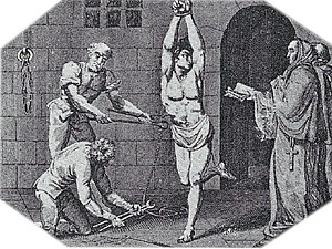 Two priests demand a heretic to repent as he i...