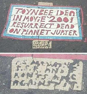 Large and colorful Toynbee tile found in downt...
