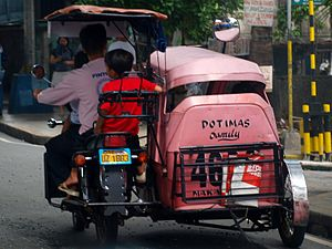 Pink tricycle with child on board.
