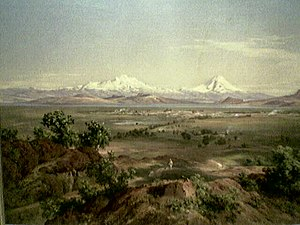 A painting of the Valley of Mexico in the nine...