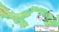 Ruta del viaje de Núñez de Balboa al Mar del Sur en 1513.