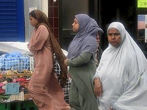 Bangladeshi women at Whitechapel Market, in ea...