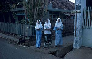 Female students of a Madrasah (Islamic school)...