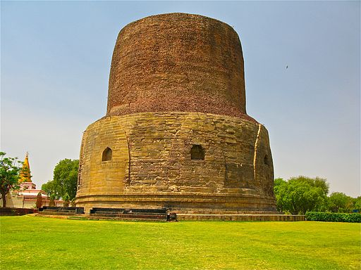 Dhamekh Stupa, where the Buddha gave the first sermon on the Four Noble Truths and the Eightfold Path to his five disciples, Sarnath