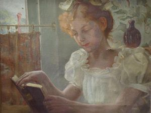 English: Signed Painting of a Girl Reading A B...