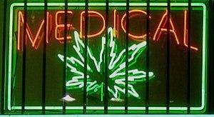 Medical marijuana neon sign at a dispensary on...