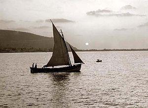 Boat on the Sea of Galilee in 1898. Descriptio...