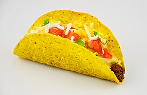 English: Traditional American taco, served wit...