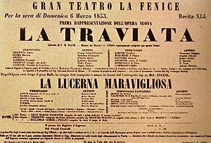 Affiche voor de eerste opvoering van La Traviata.
