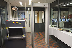 The Security control area at the entrance of t...