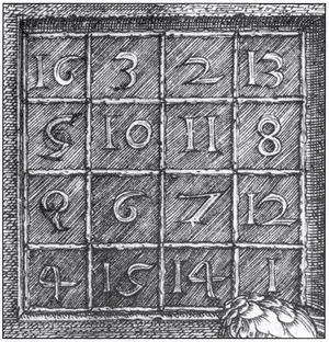 Melencolia I (detail: magic square); 2nd row b...