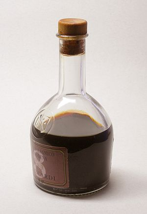 A bottle of Aceto Balsamico di Modena, aged fo...