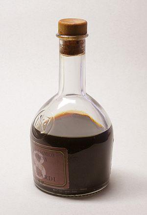 A bottle of Aceto Balsamico di Modena, aged fo...