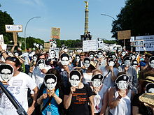 Protestors rally against NSA's mass surveillance, Berlin, June 2013