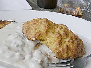 English: Biscuits and gravy as served by the B...
