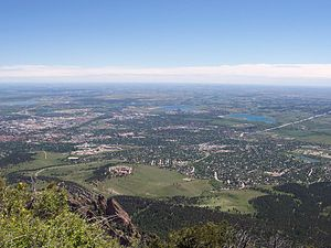 English: View of Boulder from Bear Peak. Unive...