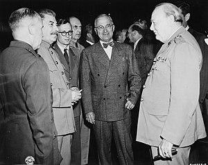 Potsdam Conference: Joseph Stalin (left), Harr...
