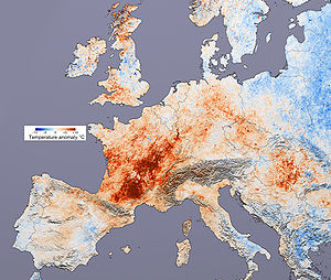 Temperature difference in Europe from the aver...