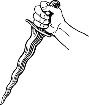 Line art drawing of a kris.