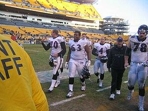 English: Baltimore Ravens players Sam Koch, Ma...