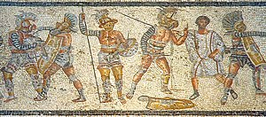 Gladiators from the Zliten mosaic.