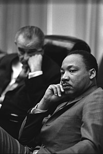 President Lyndon B. Johnson and Rev. Dr. Martin Luther King, Jr.