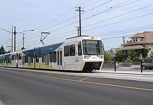 TriMet MAX Yellow Line tram on opening day wit...