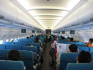 Economy Class Cabin of SilkAir, Airbus A320-20...