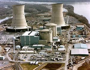 Color photograph of the Three Mile Island nucl...
