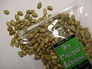English: A package of toasted soybeans, manufa...