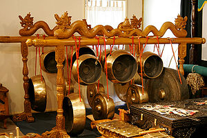 A gong collection in a Gamelan ensemble of ins...