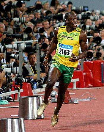 Usain Bolt in celebration about 1 or 2 seconds...