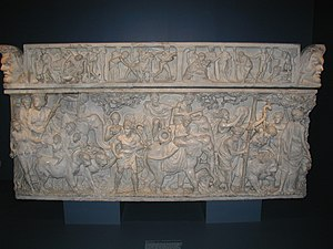 Marble Roman sarcophagus depicting the Triumph...