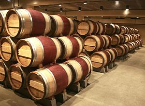 English: Oak wine barrels at the Robert Mondav...
