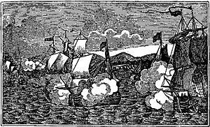 Captain Kidd attacks the Moorish fleet as depi...