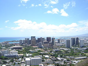 Downtown Honolulu, HI, view from Punch Bowl.