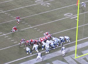 The New York Giants attempt an extra point in ...