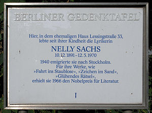 Berlin memorial plaque, Nelly Sachs, Lessingst...