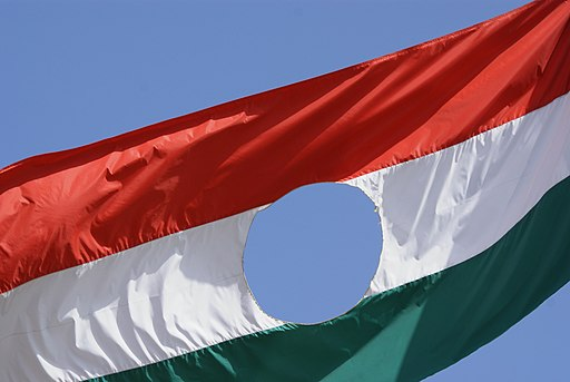 Ungarische Flagge mit Loch von 1956