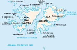 Mapa de las islas con topónimos argentinos