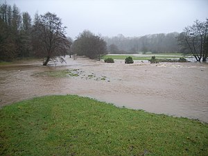 Looking at the swollen river and flooding Pict...