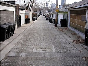 English: Image of alley renovated with permeab...