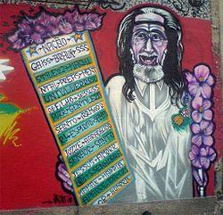 Auto-retrato do Profeta Gentileza (intervenção urbana na zona portuária do Rio de Janeiro)
