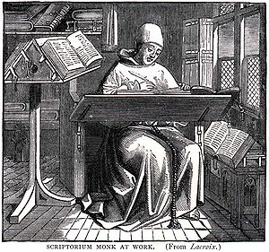 English: Title: Scriptorium Monk at Work. A mo...