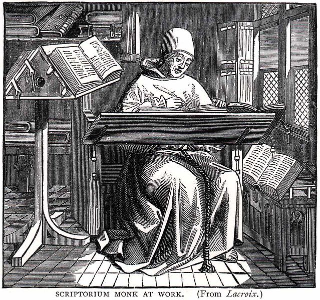 Scriptorium monk at work from wikipedia