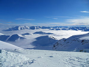 English: Southern Alps from Mt Hutt, New Zealand