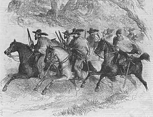An early depiction of a group of Texas Rangers...