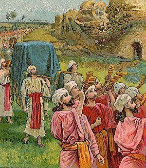 The Fall of Jericho, as in Joshua 6:8-20, illu...