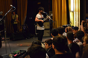 Yannis Philippakis singing with Foals at the B...