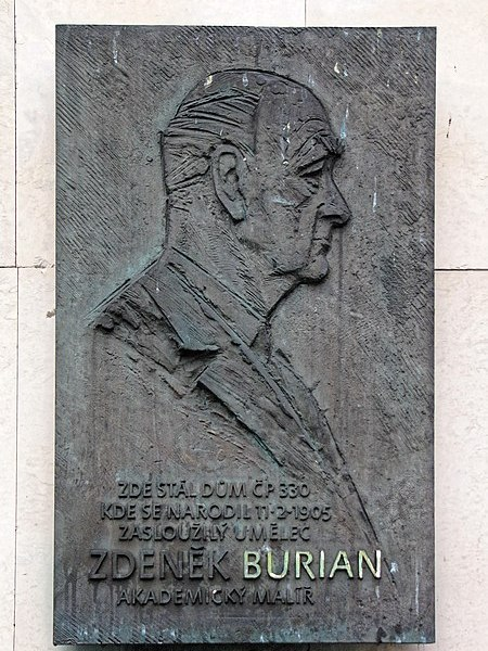 File:Zdenek Burian memorial plaque.jpg